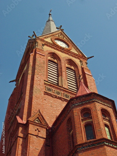 Church tower from red bricks
