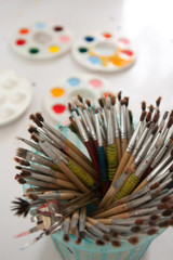 paintbrush and paint tray