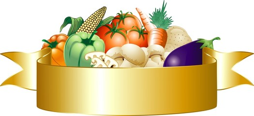 Verdure Miste Stemma-Mixed Vegetables Banner-Vector