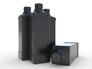 Square black plastic bottle with a cover