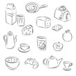"Vector Sketch Clipart Set ""Breakfast food"""