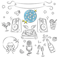 "Vector Sketch Clipart Set ""Disco Party"""