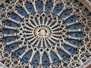 Closeup view of rose window. Facade of Orvieto Duomo, Umbria