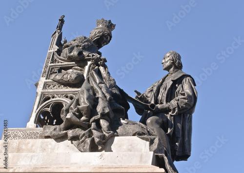 Leinwanddruck Bild Escultura de Isabel la católica y Cristóbal Colón