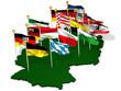 Deutschland mit Bundesländern und Landesflaggen