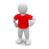 Man wearing red t-shirt. 3d rendered illustration.