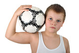 Boy holds soccer ball on shoulder next to head isolated on white