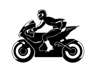 Speedy motorbiker silhouette isolated