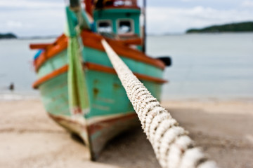Rope and fisherman boat background