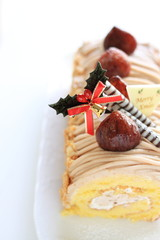 Christmas maroon roll cake
