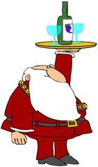 Santa With A Wine Tray