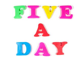five a day written in fridge magnets