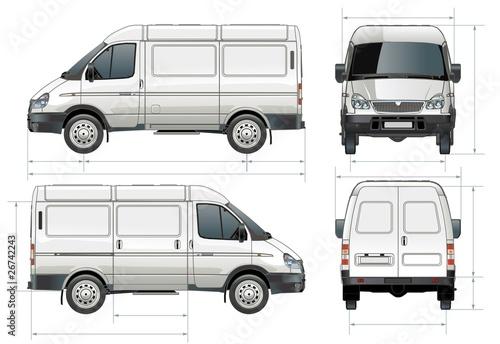 Vector delivery / cargo van in dimensions