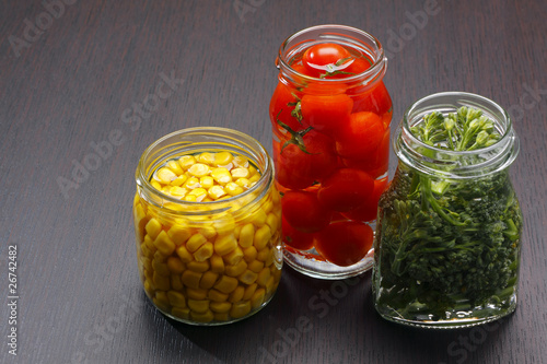 Jars with preserved food