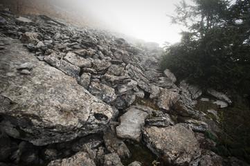 Steine, Berg im Nebel