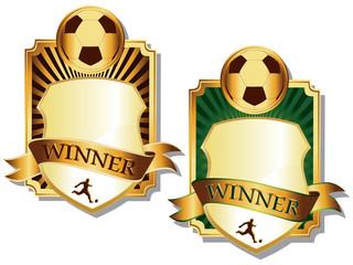 two golden soccer emblems vector