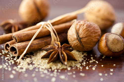 Spices and nuts for christmas cake