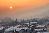 Winter morning on thr Skopje city poster