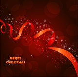 Fototapety Beautiful christmas background with red ribbon