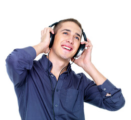 dancing man with headphones looking up