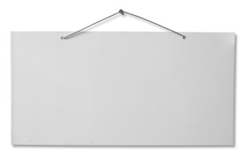 White lacquered sheet hanging on a nail - clipping path