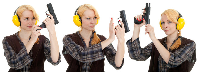 woman aiming a pistol at shooting range