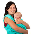 young mother carrying three month old baby boy sling