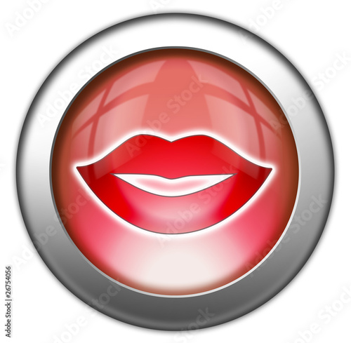 "Glossy 3D effect button ""Mouth / Lips Symbol"""