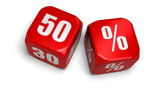 dé 50 pourcent soldes - fifty percent dice, sell