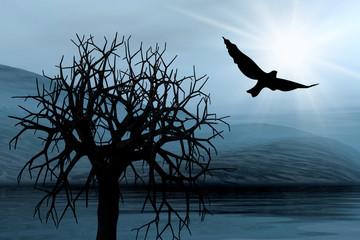 Tree and bird. Misty light in skies