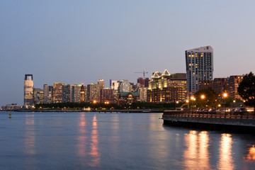 Jersey city skyline at dusk, New Jersey