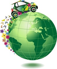 Auto Ecologica sul Mondo-Ecological Car-Vector