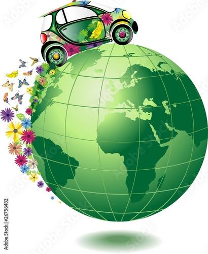 Auto Ecologica sul Mondo-Ecological Car-Vector