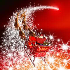 Weihnachtsmann mit Rentierschlitten und Sternschnuppe