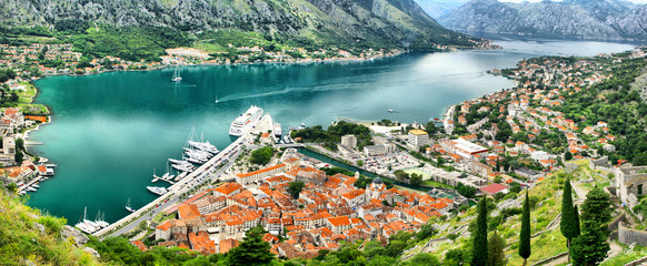 Panoramic view of Kotor bay and Kotor city, Montenegro