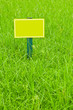 yellow label on the grass