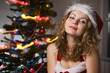 beauty woman in santa hat