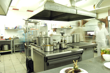 Kitchen with staff