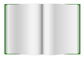 Blank opened book with green hard cover isolated.