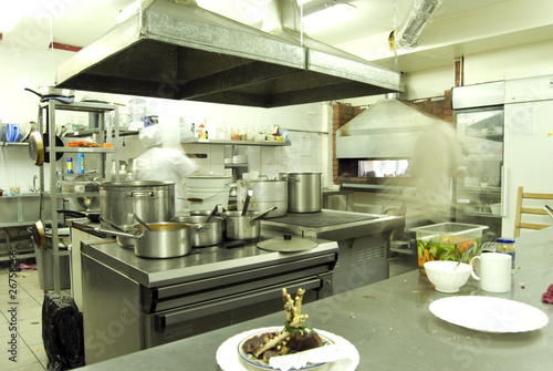 Kitchen in restaurant or canteen with personnel