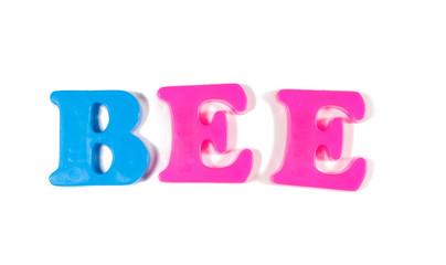 bee written in fridge magnets