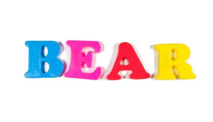 bear written in fridge magnets