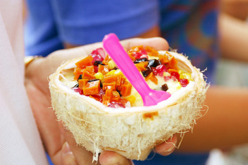 Ice cream in young coconut
