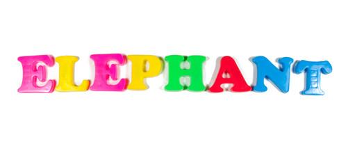 elephant written in fridge magnets