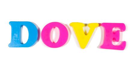 dove written in fridge magnets