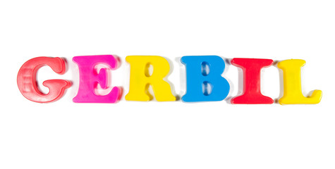 gerbal written in fridge magnets