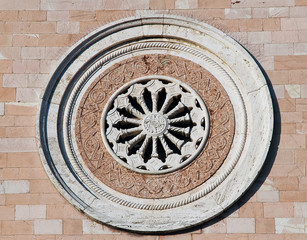 Rose window. Madonna delle Rose Convent. Assisi. Umbria.