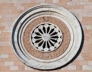 Rose window. Madonna delle Rose Convent. Assisi. Umbria.