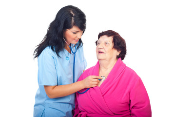 Doctor check up elderly woman