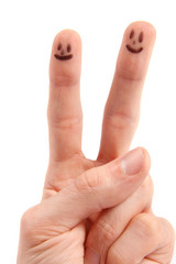hand with smileys on fingertips